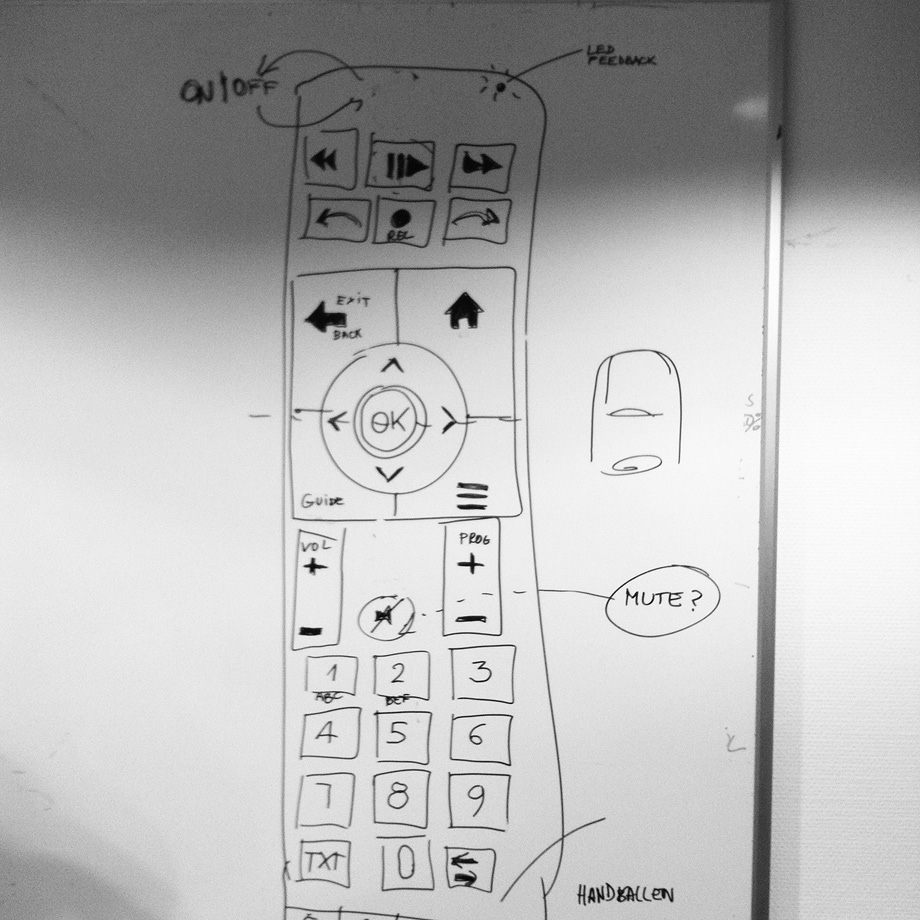 sketch of the swisscom tv remote interface design