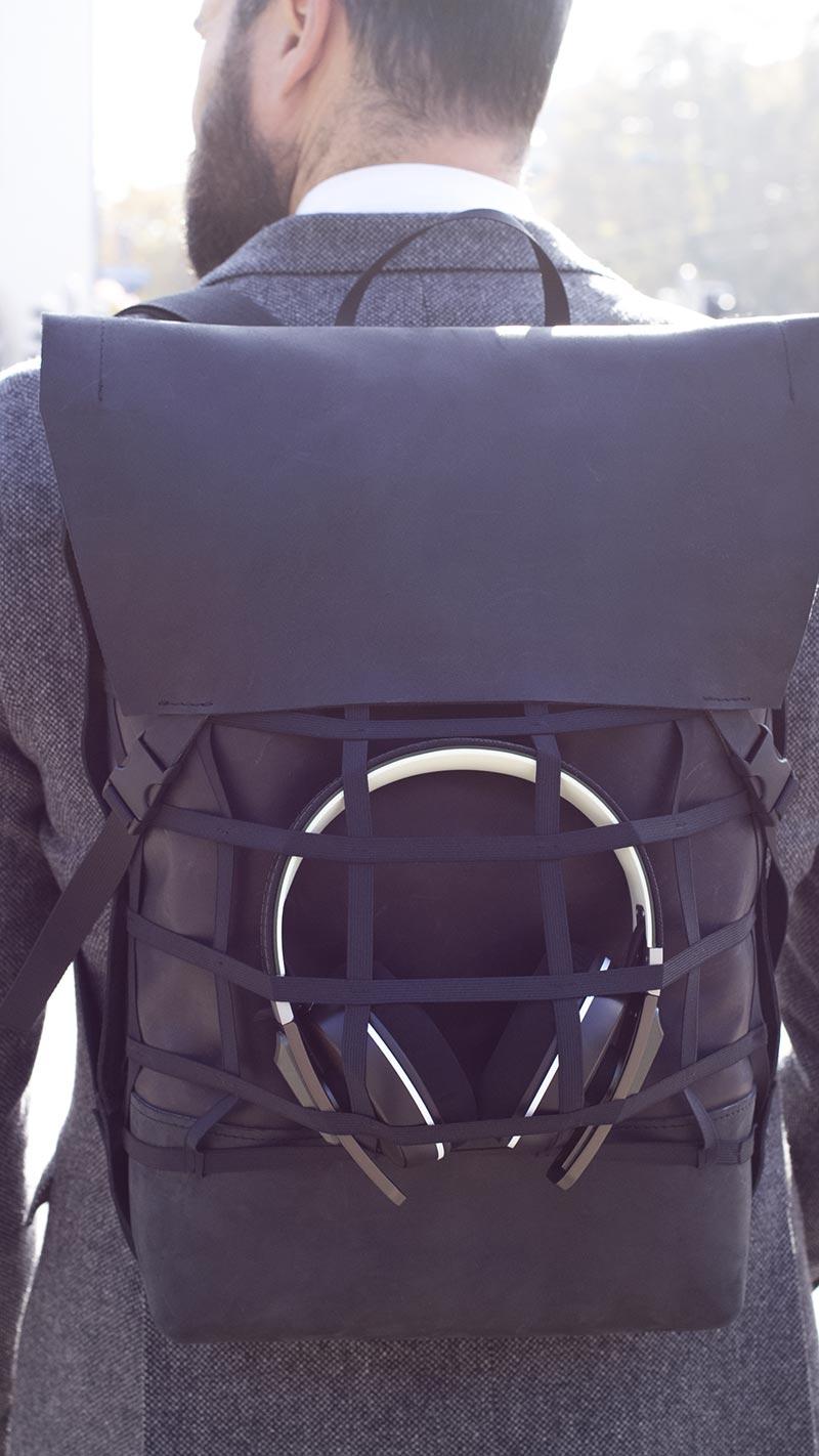 GRID Lederrucksack mit Netz für Kopfhörer
