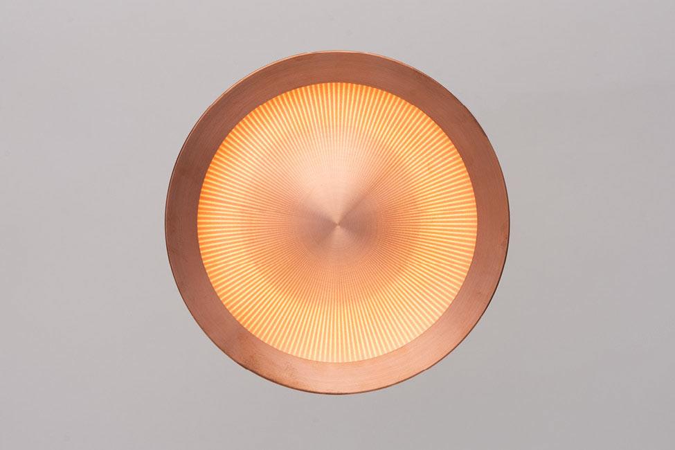 produktdesign der kupfer leuchte n.v.l. für monolicht